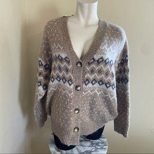 NWT Oddi fair isle cardigan sweaters tan & blue XL